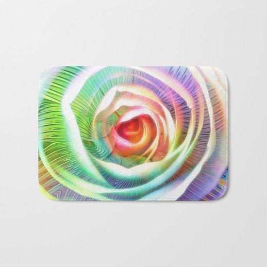 Rainbow Rose & Fractal Bath Mat
