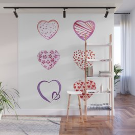 Watercolor Pink Hearts Wall Mural