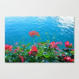 Chapel Bridge Flowers Canvas Print