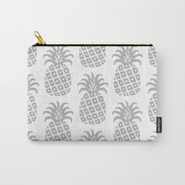 Retro Mid Century Modern Pineapple Pattern Gray Carry-All Pouch