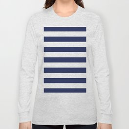 Navy Blue and White Stripes Long Sleeve T-shirt