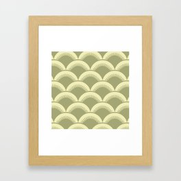 Japanese Fan Pattern Olive and Yellow Framed Art Print