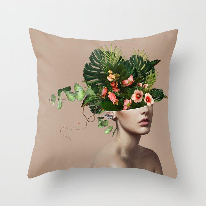 Lady Flowers llll Throw Pillow