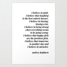 Audrey Hepburn quote Art Print