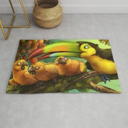 Toucan and Sun Conures : Jungle berries animal art painting birds feathers rain forest conservation Rug