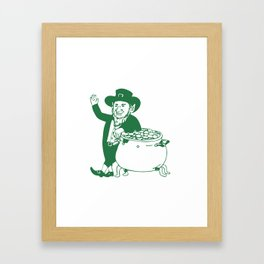 Green Leprechaun Standing by Pot of Gold Drawing Framed Art Print