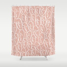 faces / pink Shower Curtain