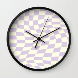 Warp Checker in Purple Wall Clock
