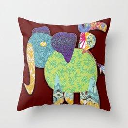 Elephant India  Throw Pillow