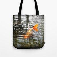 koi fish Tote Bags featuring Koi Fish by Aldari Photo