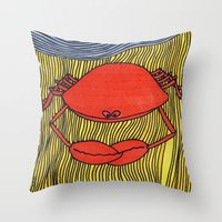 crab Throw Pillows featuring Crab by mojekris