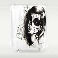 day of the dead Shower Curtains featuring Day of the Dead by Alycia Plank