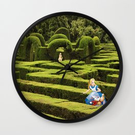 Alice and the White Rabbit in the Maze Wall Clock