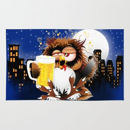 Drunk Owl with Beer Funny Character Rug