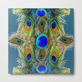 BLUE-GREEN PEACOCK EYE  FEATHERS BLUISH DESIGN Metal Print