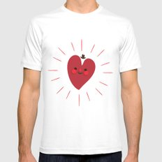 Happy Heart White MEDIUM Mens Fitted Tee