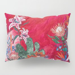 Ruby Red Floral Jungle Pillow Sham
