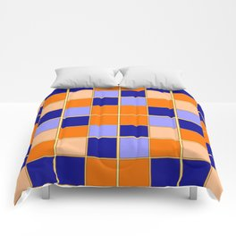 Blues and oranges check Comforters