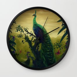 Green Peafowl (pavo muticus) Wall Clock
