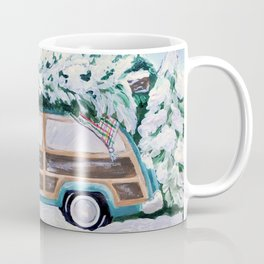 Blue vintage Christmas woody car with pine tree Coffee Mug