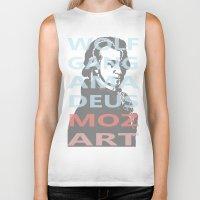 mozart Biker Tanks featuring Wolfgang Amadeus Mozart by César Padilla