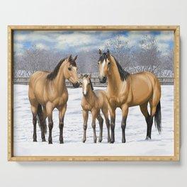 Buckskin Quarter Horses In Snow Serving Tray