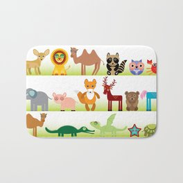 Set of funny cartoon animals character on white background Bath Mat