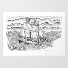Ship and sea Art Print