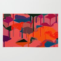 flamingos Area & Throw Rugs featuring flamingos  by Emma Stein