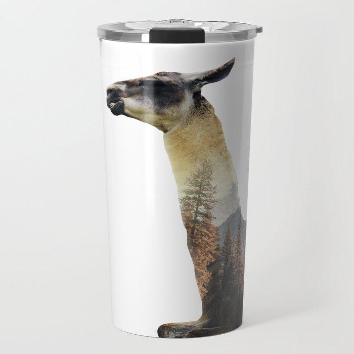 Llama Double Exposure Travel Mug