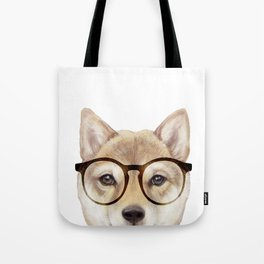 Shiba inu with glasses Dog illustration original painting print Tote Bag