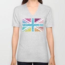 Distressed Multicol Union Jack/Flag Unisex V-Neck