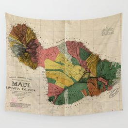 Vintage Map of Maui Hawaii (1885) Wall Tapestry