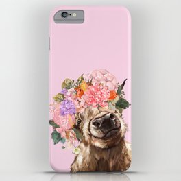 Highland Cow with Flowers Crown in Pink iPhone Case