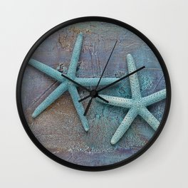 Turquoise Starfish on textured Background Wall Clock