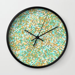 grid in brown and green Wall Clock
