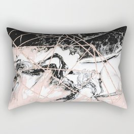 peach marble with rose gold geometric pattern Rectangular Pillow