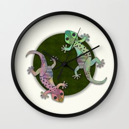 Gecko Watercolor and Ink Edition 1 Wall Clock