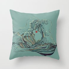 Kissing The Wave Throw Pillow