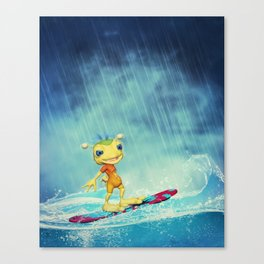 Surfing Alien Canvas Print
