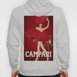 Classic Red Campari Girl with Fans Alcoholic Aperitif Vintage Advertising Poster Hoody