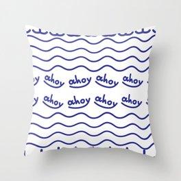 Nautical Coastal Pattern Ahoy Throw Pillow