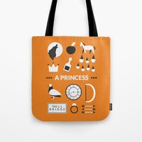 ouat Tote Bags featuring OUAT - A Princess by Redel Bautista