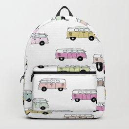 Happy Camper Van Bus pink traveling hippie boho girls summer pattern design print Backpack