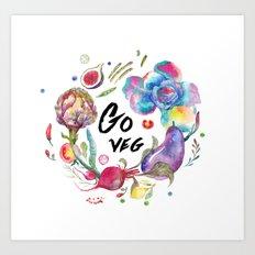 Go veg Art Print