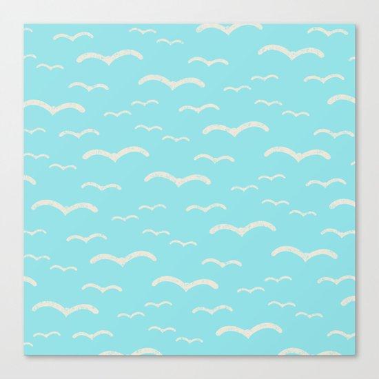 Beach Series Aqua- Sea Gulls Birds in the blue Sky Canvas Print