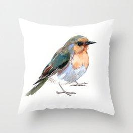 Robin bird children illustration design Throw Pillow