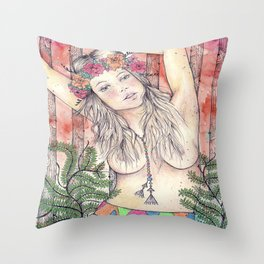 A Bit of Neon in the Woods Throw Pillow