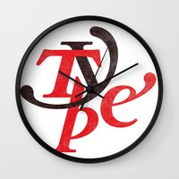 type Wall Clocks featuring Type by Andrei Robu