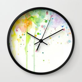 Watercolor Rainbow Splatters Abstract Texture Wall Clock